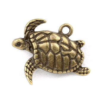 20 Pieces Sea Turtle Magical Cute Charms Findings for Jewelry Pendants Necklace Making 18mm X 17mm