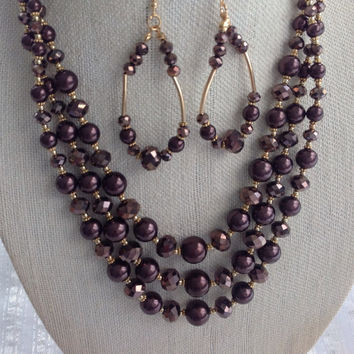 3 Strand Chocolate Brown Crystal beads necklace set, Bridesmaid accessory, Bridal necklace, Pearl Crystal jewelry, Holiday gift boss