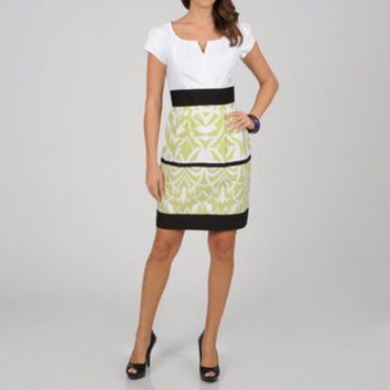 CeCe's New York Women's Lime Abstract Border Two-tone Sheath Dress   Overstock.com