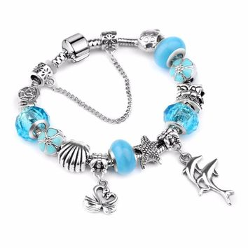 European Ribbon Charm Bracelet for Women Luxury Brand Crystal Beads Snake Chain Bracelets Silver Color Jewelry 2018