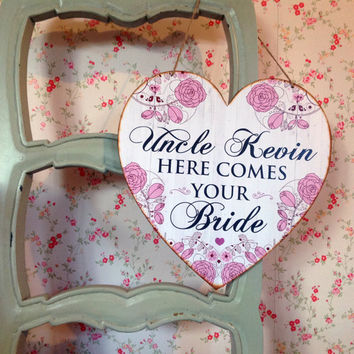 Here comes the bride sign, Last Chance to Run Sign, wedding decor, pageboy or flower girl sign, Photo Prop, Wedding Heart Sign