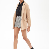 FOREVER 21 High-Waisted Houndstooth Shorts Cream/Black