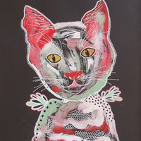 Folk Art  Cat - Cat Illustrations - Cat Paintings - Cat Art - Red Green White - Outsider Art Cat - Quirky Cat Art - Mixed Media Cat Art