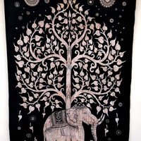 Twin Elephant Tree of Life Mandala Hippie Large Tapestry, Indian Ethnic Wall Decor, Beach Throw Bed Sheet, Hippie Dorm Decor - Beach Sheet - Hanging Wall