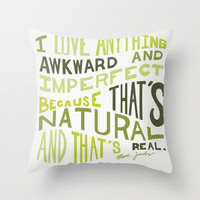 I Love Anything Awkward and Imperfect Because That's Natural and That's Real - Marc Jacobs Throw Pillow by One Curious Chip | Society6