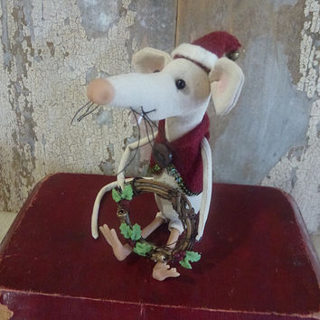 Blitzen, Christmas rat: vintage style, soft sculpture, hand painted, fabric art doll animal, artist bear (mouse, rat).