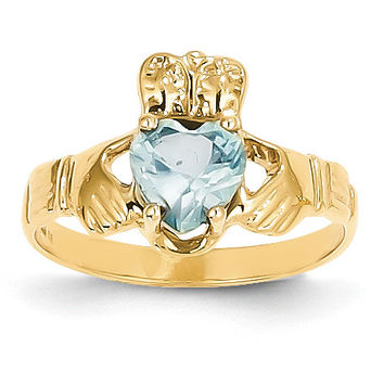 14k March Birthstone Claddagh Ring