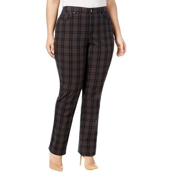 Charter Club Womens Plus Lexington Plaid Tummy-Control Casual Pants