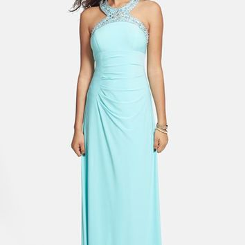 Women's Xscape Beaded Jersey Halter Gown