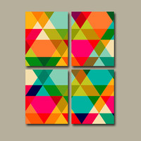 Geometric Wall Art Canvas Retro Modern Abstract Colorful Triangle Diamond Shapes Office Bedroom Decor Bathroom Design Floral Set of 4 Prints
