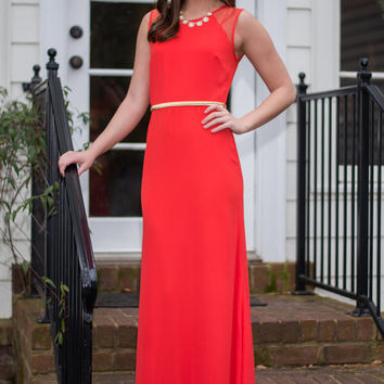 All Eyes On Me Maxi Dress, Coral