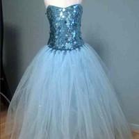 Disney Princess Frozen Elsa Handmade Full Length Sparkly Fancy Dress Costume, Snowflake Cape Age 4 5 6 7 8 9