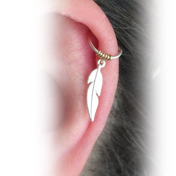 Cartilage earring, tiny hoop, cartilage hoop, gold filled 14k cartilage, tiny earring,  tiny feather earring, helix cartilage, cartilage.