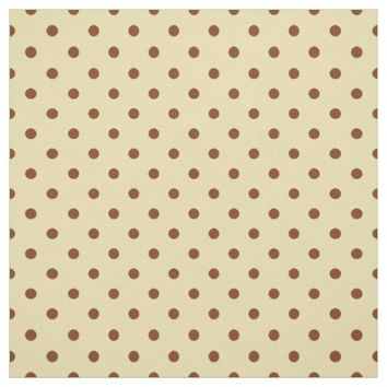 Elegant Cream Brown Spotty Polka Dot Pattern Fabric