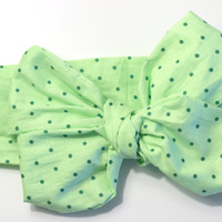 green baby headband, st. patrick's day baby, large bow, green headwrap, st. patty's head wrap