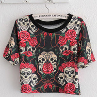Cropped Rose And Skull Print T-shirt - OASAP.com
