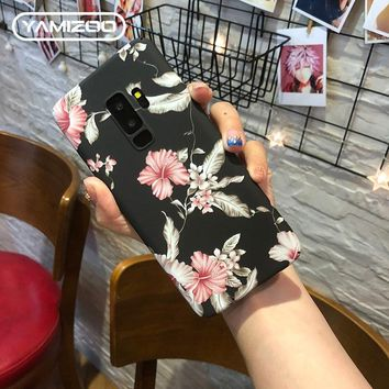 YAMIZOO s8 s9 Plus Case For Samsung Galaxy s7 Edge Case Cover Hard Flower Coque Phone Cases For Samsung s8 Plus s9 Case Note 8