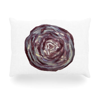 "Theresa Giolzetti ""Cabbage"" White Purple Oblong Pillow"