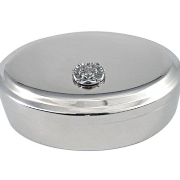 Silver Toned Tudor Rose Pendant Oval Trinket Jewelry Box