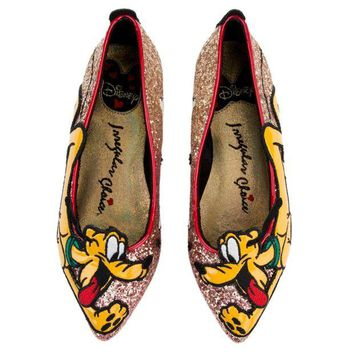 ONETOW Irregular Choice Mickey Mouse & Friends Collection Women's Pluto Gold Flats