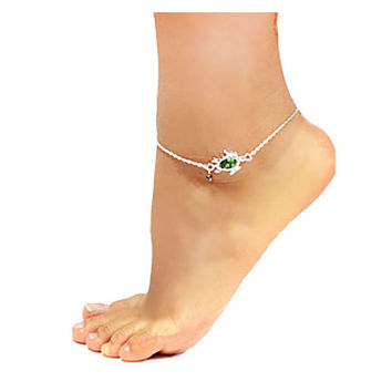 Silver & Emerald Green Bead Turtle Charm Anklet