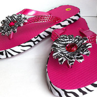 hot pink zebra striped childrens flip flops,house shoes,thongs,spa slippers,size medium