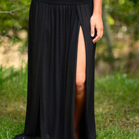 All Legs Maxi Skirt- Black