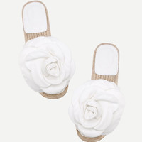 Flower Embellished PU Flat Sandals -SheIn(Sheinside)