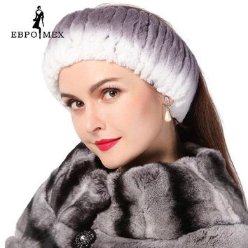 VONESC6 Winter women fur hat  knitted rex rabbit fur neckwear for women real fur head wrap ear warmer 2015 newest fashion hairband