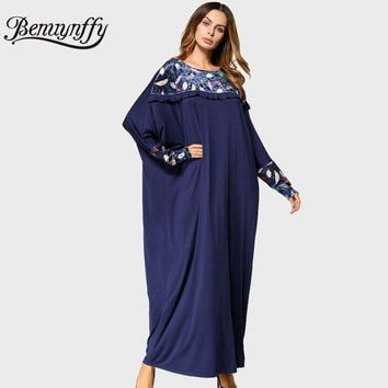 Benuynffy Womens Print Long Sleeve Maxi Dress 2017 Autumn Winter Ladies Casual Round Neck Batwing Sleeve Oversized Dress Q774