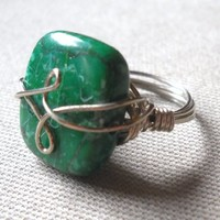 Green Turkey Turquoise Wrapped Silver Wire Ring Size 6