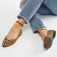 Faith Wide Fit Ally Leopard Print Pointed Flat Shoes at asos.com