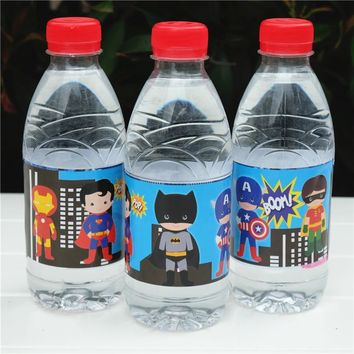 12pcs Avengers Batman Ironman Superman hero water bottle label candy bar kids birthday party supplies baby shower party favor