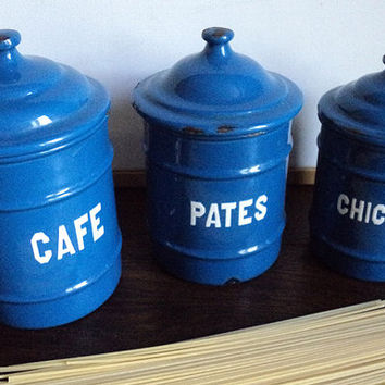 French Vintage Shabby Chic Set of 3 Blue Enamel Boxes - French Enamelware Canisters