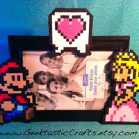 Mario and Peach Couple Heart Perler Frame (5x7) Picture Frame