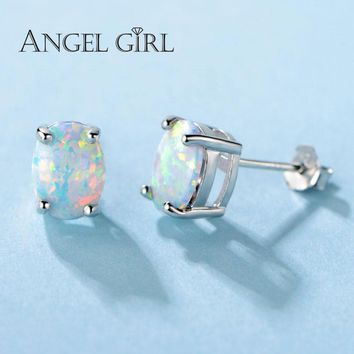 Angel Girl 0.78ct Oval Opal Female Earrings 925 Sterling Silver Stud Earrings Classic Christmas Gift Gemstone Jewelry E0078-WW