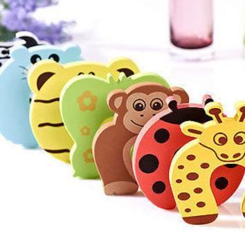 6X Baby Safety Foam Door Jammer Guard Finger Protector Stoppers Animal Fad BDAU