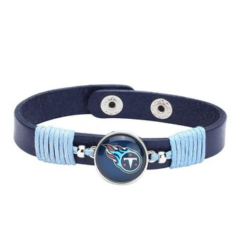 10pcs/lot! Adjustable Premium Leather Ginger Snaps Bracelet with a Tennessee Titans 18mm Snap  for Men,Women#1093