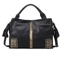 Black PU Stud Embellish Bag with Tasseled Drawstring Closure