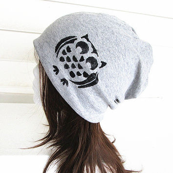 Owl Women Oversized Beanie Hat-Grey-Baggy Hat- Head Wrap- Slouch Cap-Hippie Hat-Unisex