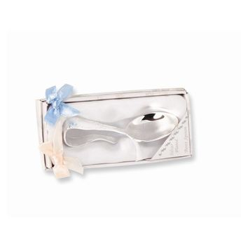 Silver-plated Babys Bent Handle Spoon - Engravable Personalized Gift Item