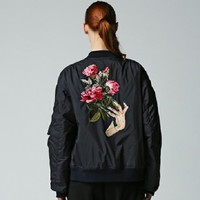 Indie Designs Undercover Inspired Rose Flower Embroidered MA1 Bomber Jacket