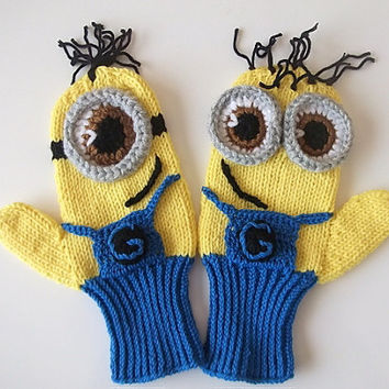 COTTON-Adult,Kids,Baby,Despicable Me Minion Mittens Gloves-MINION style fingerless gloves-Knit minion gloves-Crochet gloves