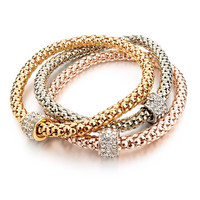 Real 18K Gold Silver Rose Gold Plated Metal Chain Women Bracelets