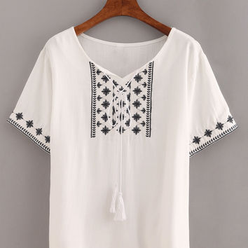 White Lace Up Snowflake Embroidered Shirt