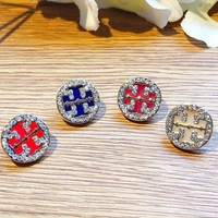 Tory burch fashion double T full diamond hollow personality sweet ear nail accessories