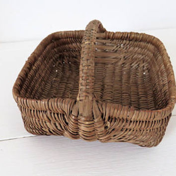 Antique French, Miniature Basket, Willow