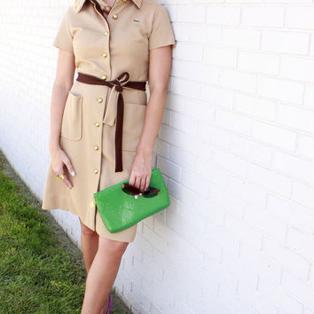 Vintage Tan And Brown Lacoste Dress