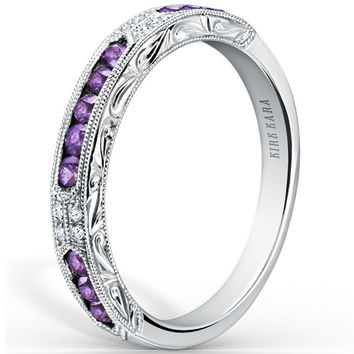 "Kirk Kara ""Charlotte"" Purple Amethyst Diamond Wedding Band"