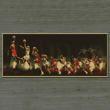 NBA Basketball Star Michael Jordan Vintage Posters Home Decor Antique Poster Wall Sticker Retro Matte Kraft Paper 30x75 CM